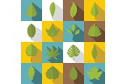 Plant leafs icons set, flat style