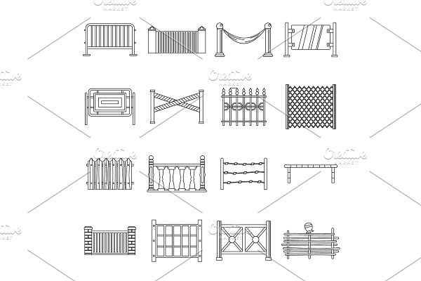 Fencing icons set, outline style