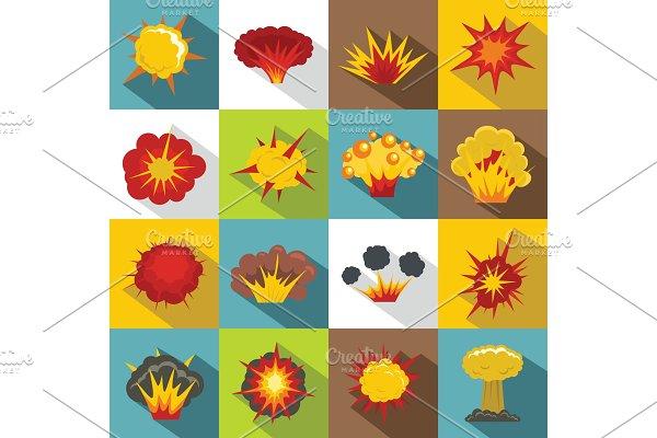 Explosion icons set, flat style