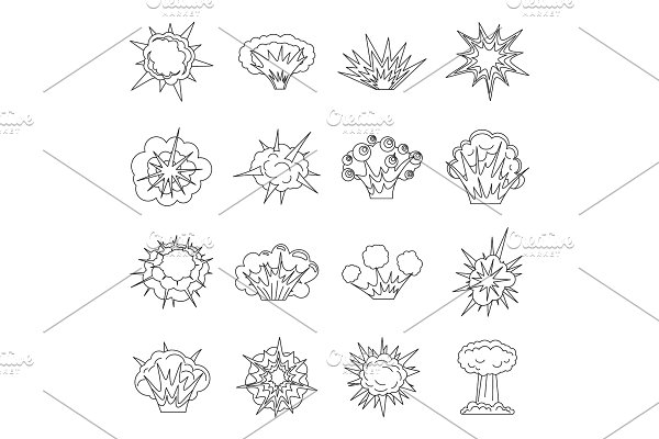 Explosion icons set, outline style