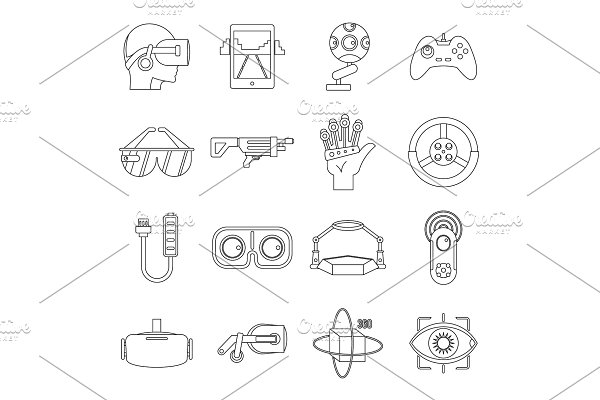 Virtual reality icons set, outline