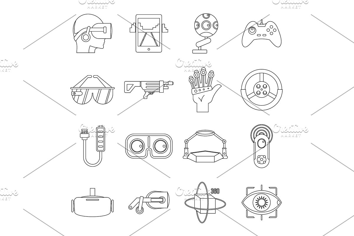 Virtual reality icons set, outline in Illustrations - product preview 8