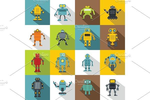 Robot icons set, flat style