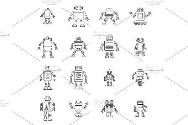 Robot icons set, outline style