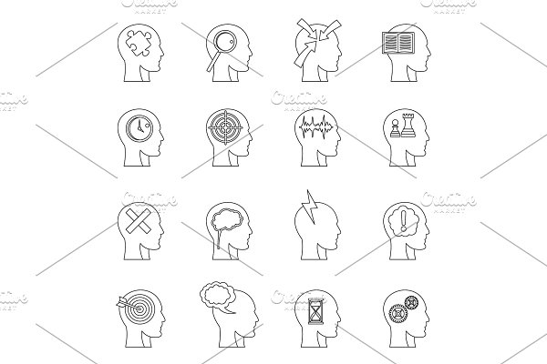Head logos icons set, outline style