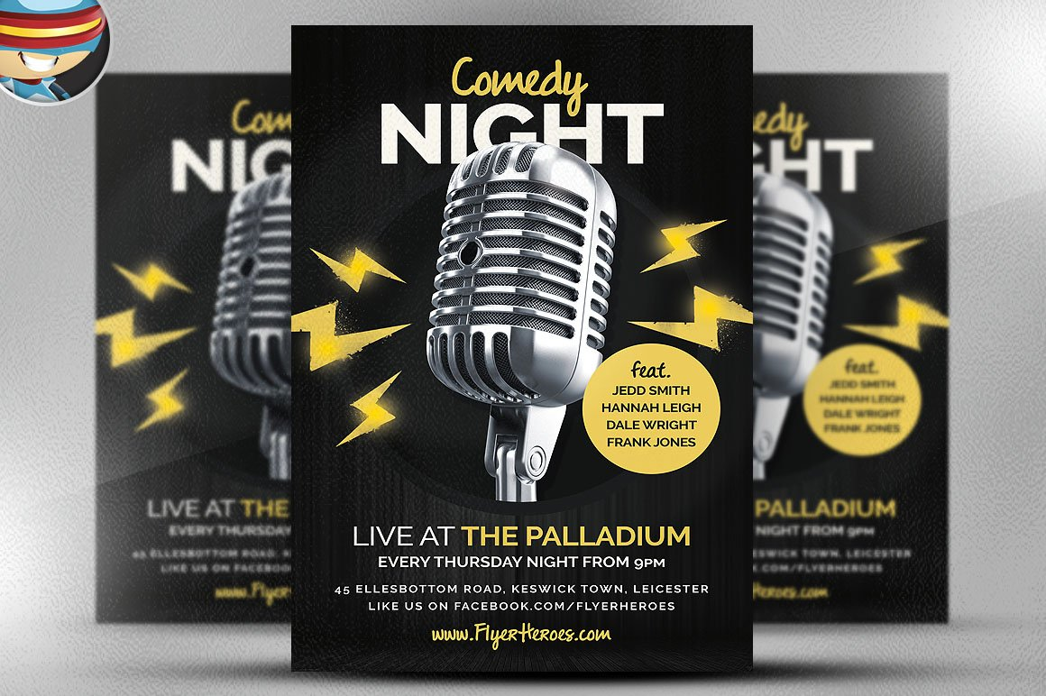 Open Mic Comedy Night Flyer Flyer Templates on Creative Market – Comedy Show Flyer Template