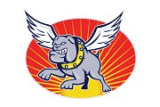 Bulldog mongrel dog with wings