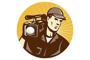 Cameraman Film Crew With Video Movie