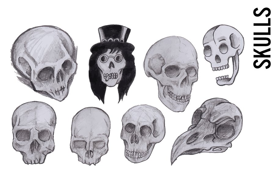 Grungy Skull Sketches Clipart