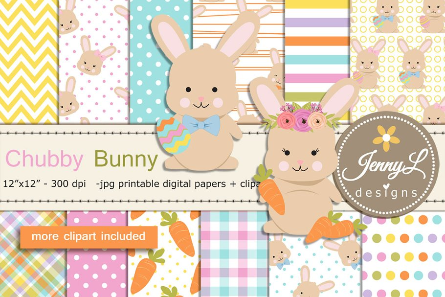 Easter Bunny Digital Paper & Clipart