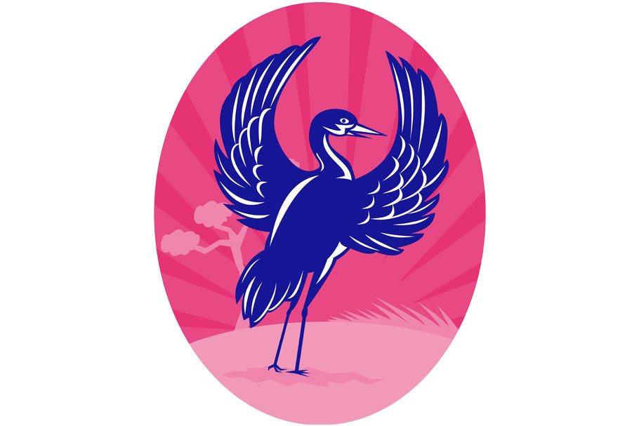 Crane flapping wings pine tree