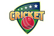 Cricket Sports Ball Stars Shield