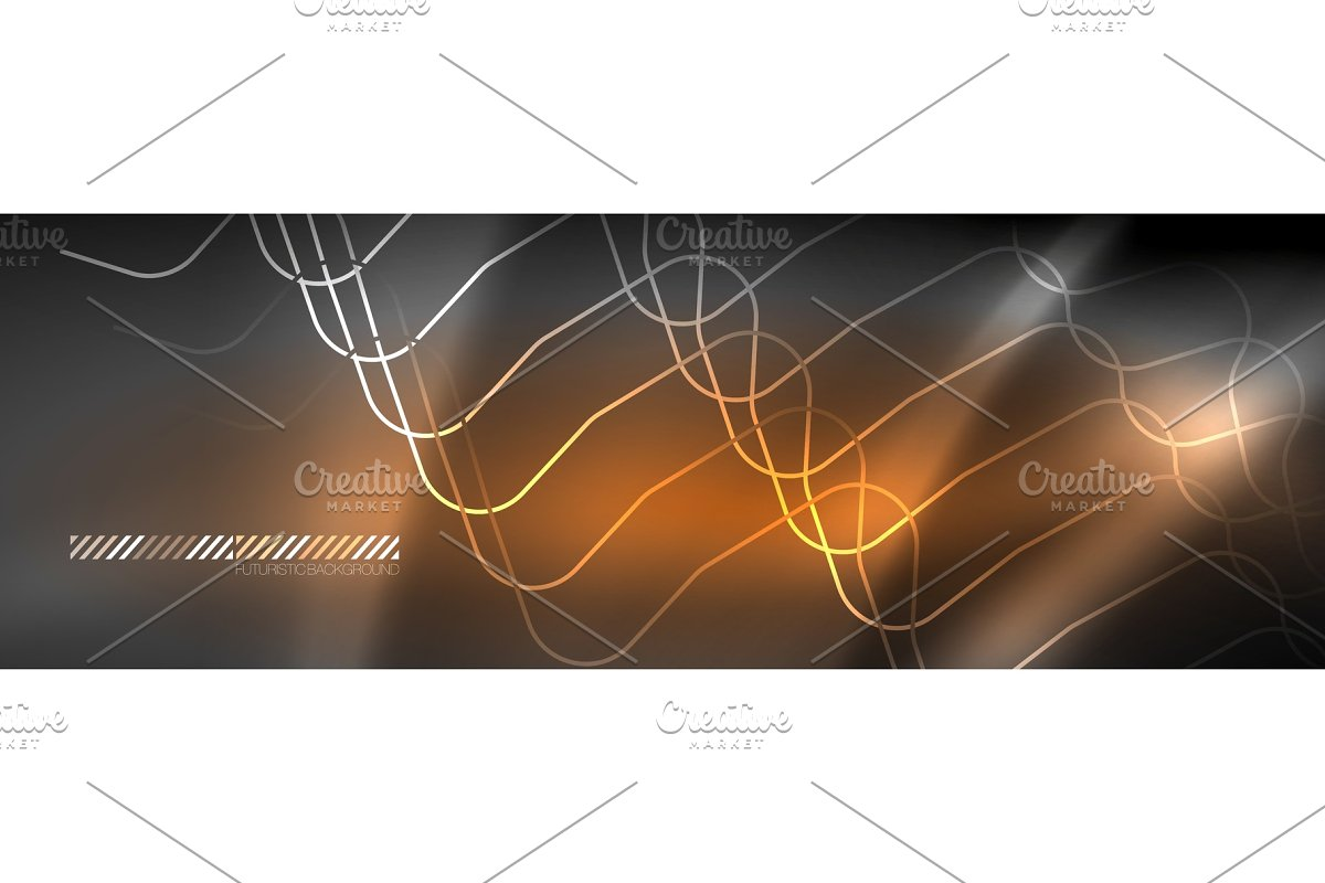 Glowing neon abstract lines, techno in Illustrations - product preview 8