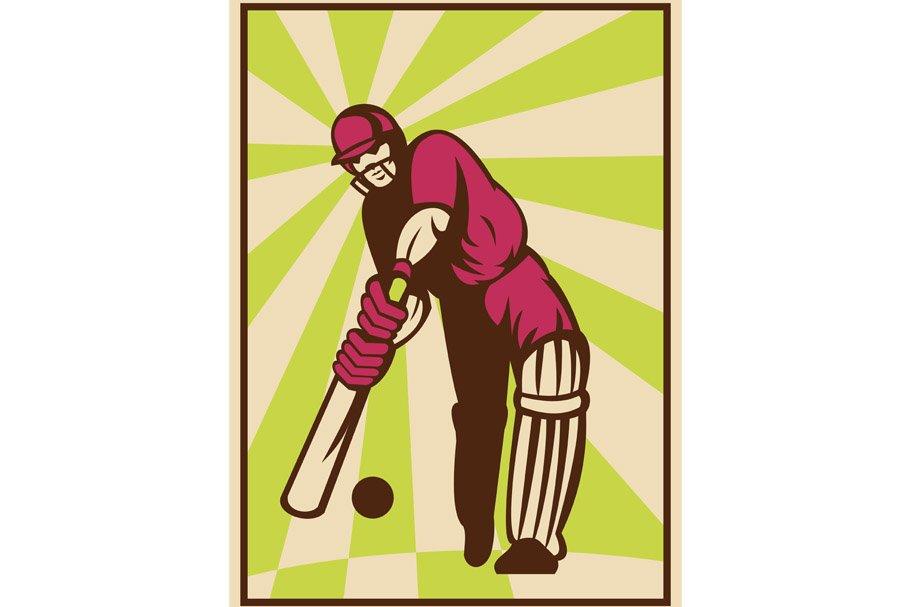Cricket Player Batting Ball
