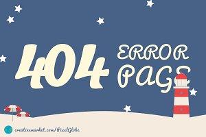 404 error - Beach - HTML template