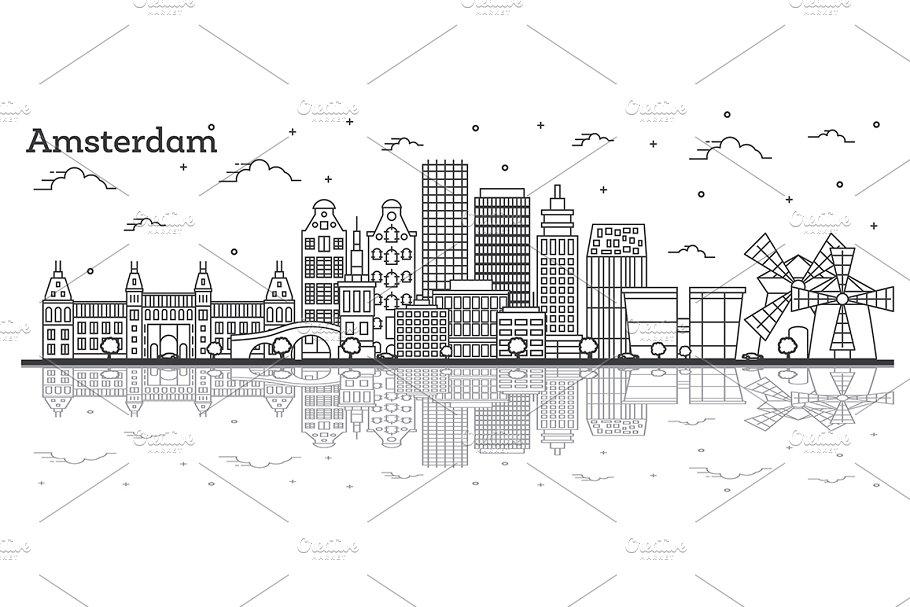 Outline Amsterdam Netherlands City