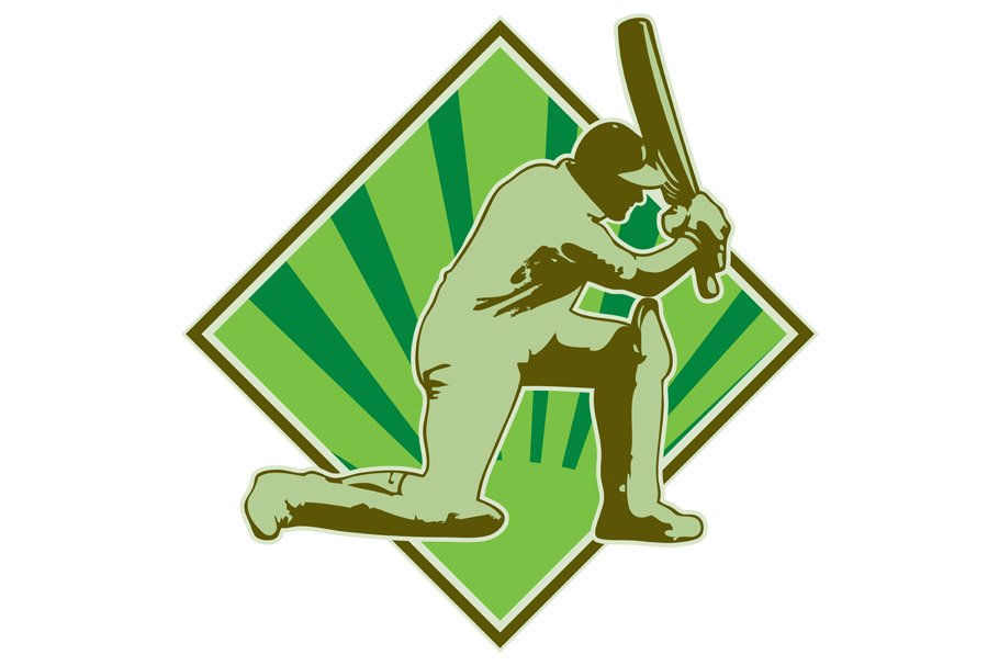 Cricket Player Batsman Batting Retro in Illustrations - product preview 8
