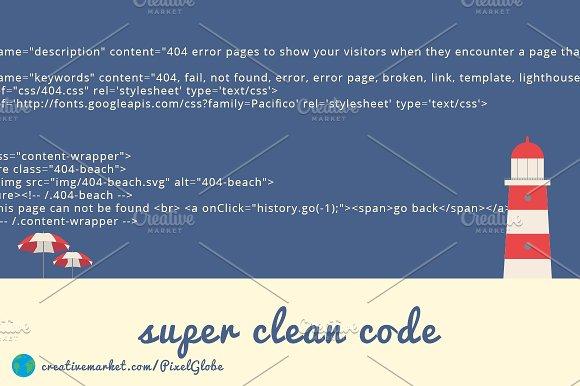 404 Error Beach Html Template Htmlcss Themes Creative Market