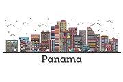 Outline Panama City Skyline