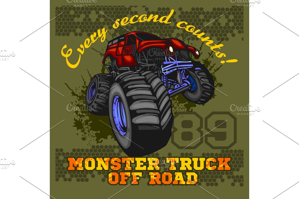 Monster Truck - off road badge in Illustrations - product preview 8