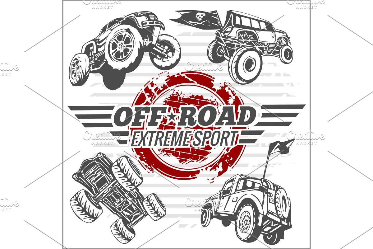Vector emblem with off-road cars in Illustrations - product preview 8