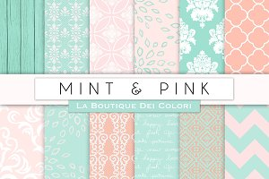 Pink & Mint Digital Papers