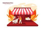 Market Place - Vector Illustration