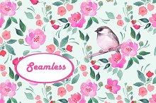 Watercolor pattern 3. Bird. Seamless