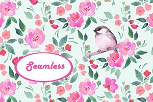 Watercolor pattern 3. Bird. Seamless