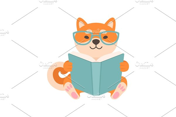 Shiba Inu Dog in Glasses Reading