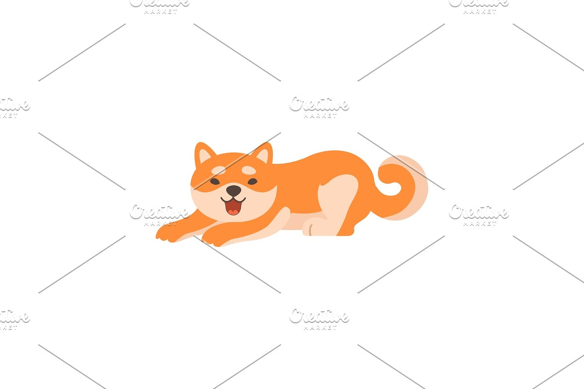Cute Shiba Inu Dog Lying, Adorable in Illustrations - product preview 8