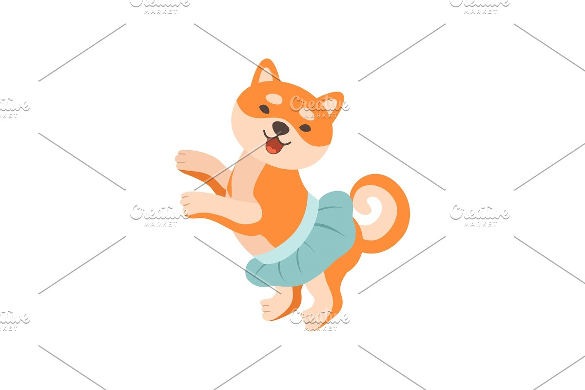 Shiba Inu Dog in Blue Skirt, Cute in Illustrations - product preview 8