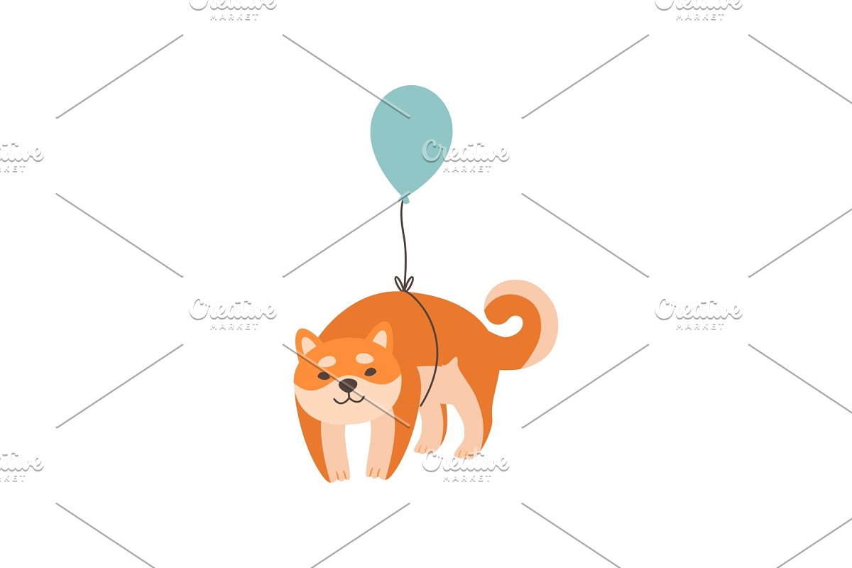 Shiba Inu Dog Flying with Balloon in Illustrations - product preview 8
