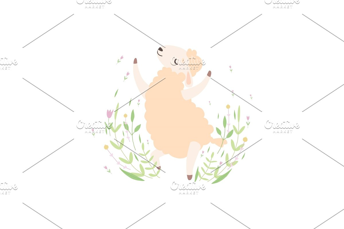 Cute Little Lamb Jumping Happily in Illustrations - product preview 8