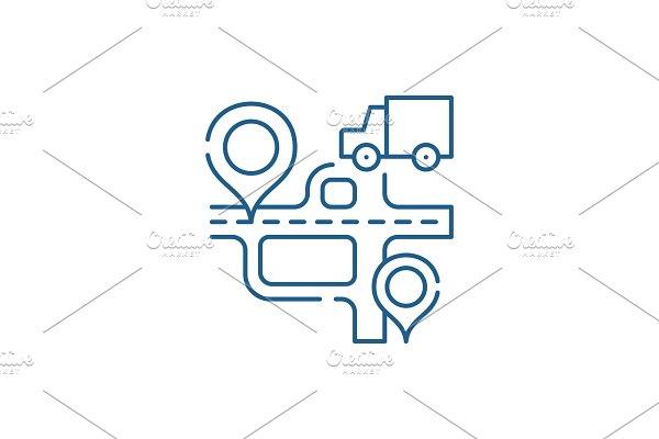 Route navigation line icon concept