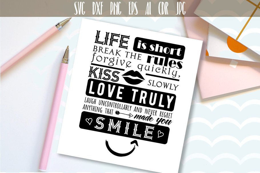 Life is short Vector typography