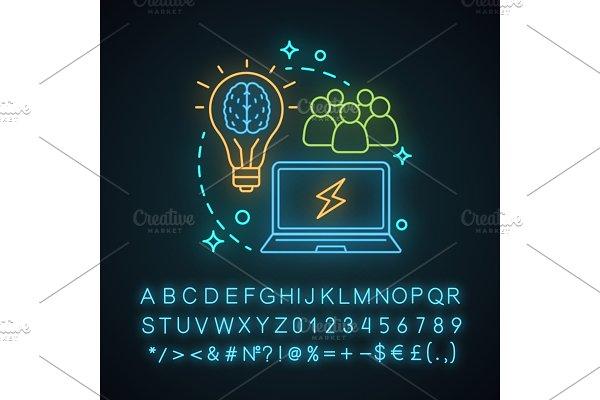 Design studio neon concept icon
