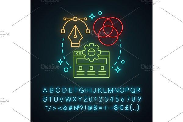 Website design neon concept icon
