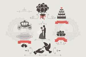 Set of wedding invitation elements