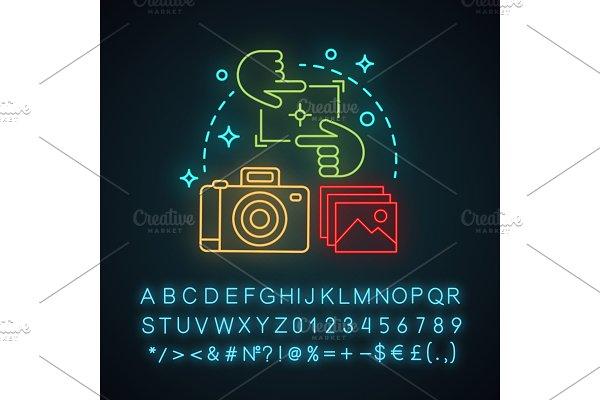 Photography neon light concept icon