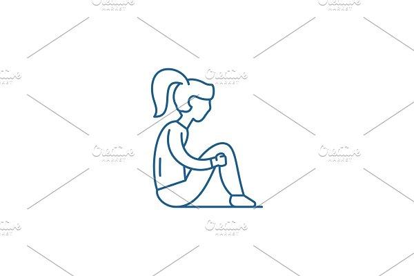 Sadness line icon concept. Sadness