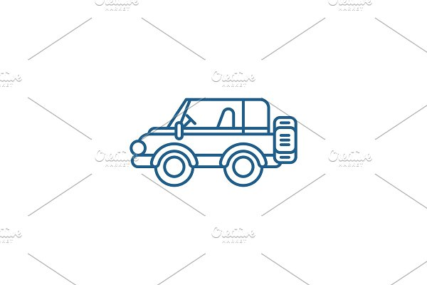 Safari jeep line icon concept