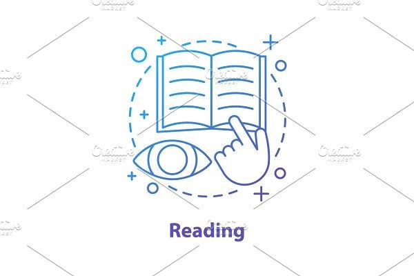 Reading book concept icon