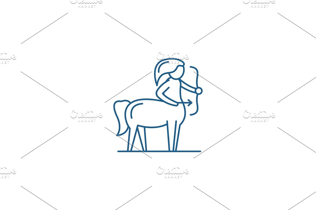 Sagittarius zodiac sign line icon in Textures - product preview 8