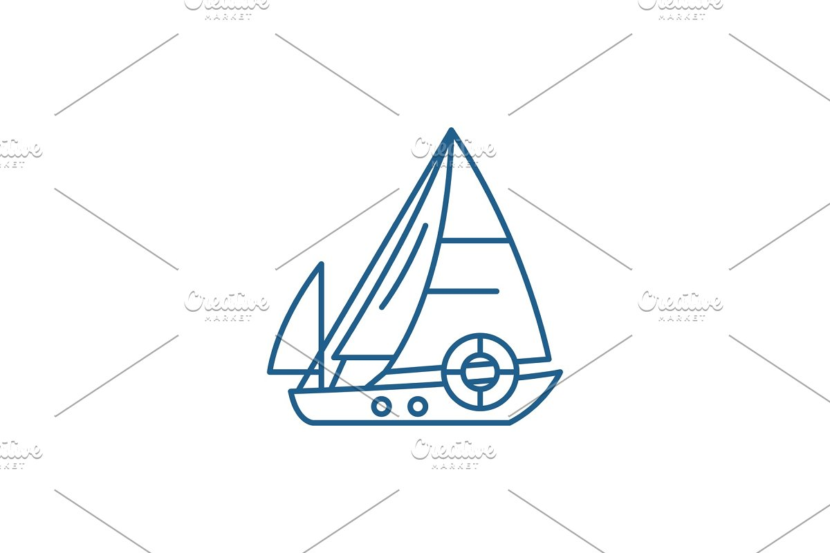 Sailboat line icon concept. Sailboat in Illustrations - product preview 8