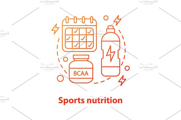 Sports nutrition concept icon