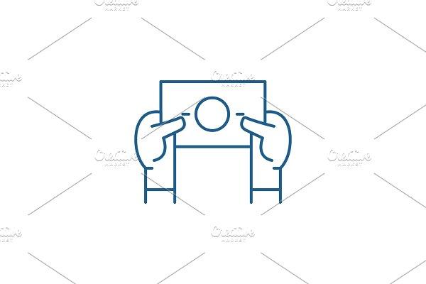 Sales coupon line icon concept