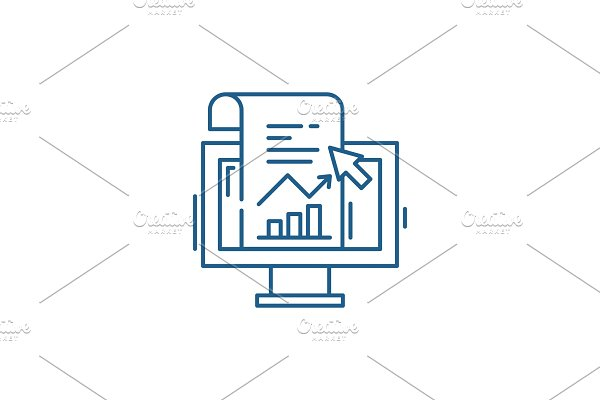 Sales statistics line icon concept