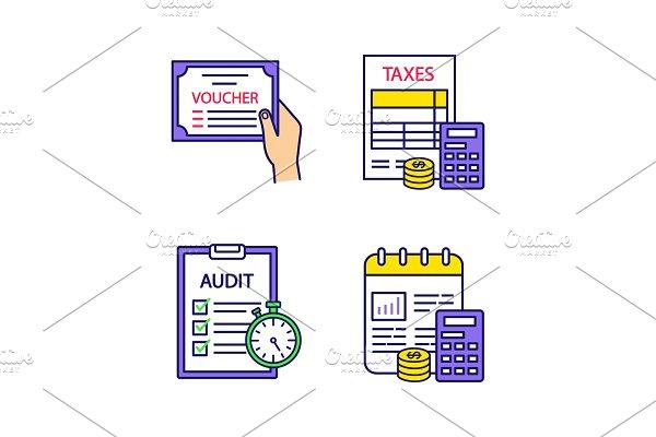 Audit color icons set