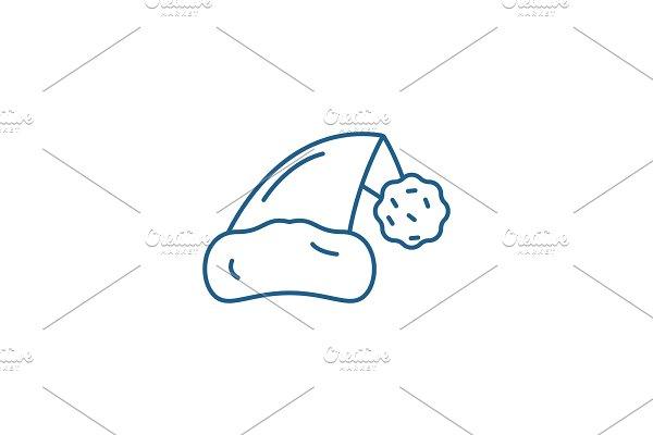 Santa claus hat line icon concept